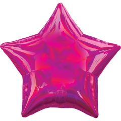 "18"" Holographic Iridescent Magenta Star Foil Balloon, 39267"