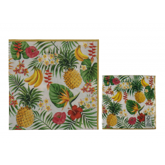 Paper napkins with tropical print, 33 x 33 cm, 145263, pack of 20 pcs
