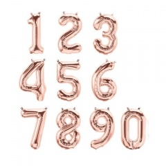 "16""/41 cm Rose Gold Number Shaped Foil Balloons, Qualatex, 1 piece"