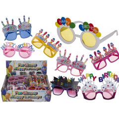 Plastic Happy Birthday funny glasses for party, 8 ass, Radar 18/3927, 1 piece