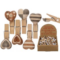 Clips decorativ din lemn cu inimioare, ca. 4 cm, Radar 76/0998, 6 modele, 1buc
