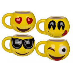 Ceramic mug Emoticon Faces, 13 x 8 cm, Radar 78/8266, 4 ass, 1 piece