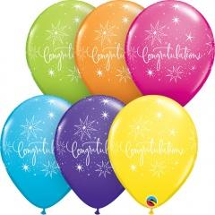 """11"""" Printed Latex Balloons - Congratulations Elegant Assorted,  Qualatex 46111"""