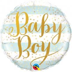 """9"""" Baby Boy Blue Stripes Air Fill Microfoil Balloon, Qualatex 88489"""