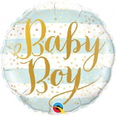 Balon Mini Folie Baby Boy Blue Stripes - 23 cm, umflat + bat si rozeta, Qualatex 88489