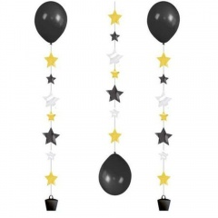 "3 Balloon Tails ""Stars"" for 11"" Balloons, 100 cm , Radar 9902240"