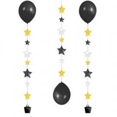Panglica decorativa - Balloon Tails - cu stelute, pentru baloane cu heliu, 100 cm, Radar 9902240, 3 buc/set