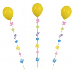 Panglica decorativa - Balloon Tails - baby, pentru baloane cu heliu, 9 x 7 x 100 cm, Radar 9902239, 3 buc/set