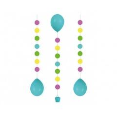 "3 Balloon Tails ""Dots"" for 11"" Balloons, 100 cm , Radar 9902241"