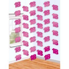 6 String Decorations Pink Shimmer 18, 2.10 m, Radar 992249