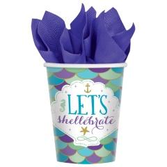 Pahare carton Mermaid Wishes pentru petrecere - 266 ml, 581975, Set 8 buc