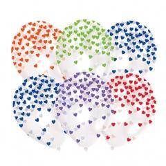 Baloane latex 28 cm confetti inimioare asortate, Radar 9903274, set 6 buc