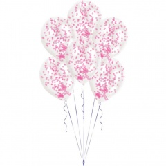 """11"""" Latex Balloons With Pink Confetti, Radar 9903279, Pack of 6 pieces"""