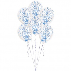 """11"""" Latex Balloons Filled With Blue Confetti, Radar 9903278, Pack of 6 pieces"""