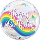"Birthday Rainbow Unicorns Bubble Balloon - 22""/56 cm, Qualatex 87744, 1 piece"