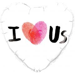 """Heart Foil Balloon I Love Us - 18""""/45 cm, Qualatex 78543"""