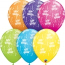 "Baloane latex 11""/28 cm inscriptionate Birthday-A-Round, Tropical Asortate, Qualatex 13552"