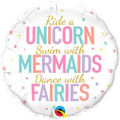 Balon Folie 45 cm Unicorn, Mermaids, Fairies, Qualatex 97402
