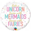 Unicorn/Mermaids/Fairies, Round Foil Balloon - 45 cm, Qualatex 97402