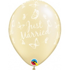 """11"""" Just Married Printed Butterflies-A-Round Pearl Ivory Latex Balloons, Qualatex 31559"""