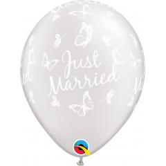"Baloane latex 11"" inscriptionate Just Married, Butterflies-A-Round Pearl White, Qualatex 31614"