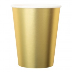 Gold Satin Party Paper Cups - 250 ml, Radar 63549, pack of 8 pcs