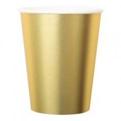 Pahare carton auriu satinate - 250 ml, Radar 63549, set 8 bucati