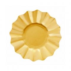 Farfurii petrecere carton aurii satinate - 21 cm, Radar 63542, set 8 bucati