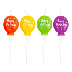 Candels With Bow Pick Balloons Shaped Figurines, Radar 51844, pack of 4 pcs