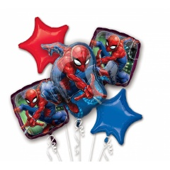 Ultimate Spider-Man Birthday Bouquets Foil Balloons, Radar 34667, 5 pieces