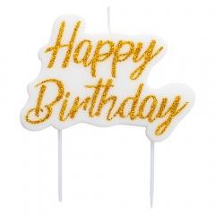 White glitter Happy Birthday candle, 8 x 6 cm, Radar 51822