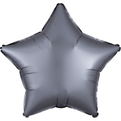"18"" Graphite Satin Luxe Star Shaped Foil Balloon, Radar 39918"