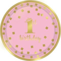 Farfurii carton pentru petrecere 1st birthday - 18 cm, roz si auriu, Radar 541861, set 8 bucati