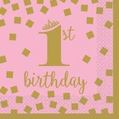 Servetele pentru petrecere copii - 1st Birthday roz si auriu, 25 x 25 cm, Radar 501861, Set 16 buc