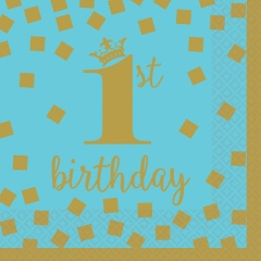 1st Birthday Blue And Gold Paper Party Napkins, 25 x 25 cm, Radar 501862, pack of 16 pcs
