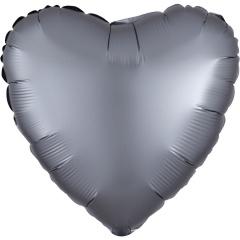 Balon folie inima 45 cm Satin Luxe Graphite, Radar 39917