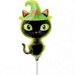 Balon folie mini figurina Black Kitty, umflat + bat si rozeta, Radar 37025