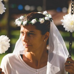 Coronita nunta cu flori albe si voal - Radar 41388, 1 buc