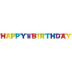 Banner decorativ pentru petrecere, Happy Birthday asortat, 213 cm, Radar 120199