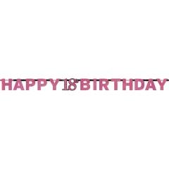 Banner decorativ sparkling pentru petrecere majorat - 213 x 16.2 cm, Happy Birthday 18 ani, Radar 9900576, 1 buc
