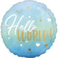 Balon folie inscriptionat Hello World! Blue - 45 cm, Radar 39730