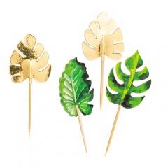 Scobitori decorative pentru briose cu frunze tropicale - 10 cm, Radar 41323, Set 10 buc