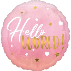 Balon folie inscriptionat Hello World! Pink - 45 cm, Radar 39724