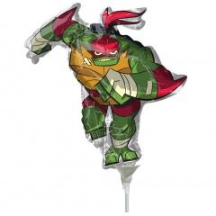 Balon mini figurina Testoasele Ninja - Raphael, 36 cm, umflat + bat si rozeta, Radar 38910