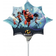 Balon mini figurina Incredibles 2, umflat + bat si rozeta, Radar 37133
