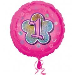 Balon folie inscriptionat Pink Flower 1st - 45 cm, Radar 29543