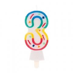 Lumanare aniversara Cifra 3 pentru tort multicolora, 8.5 cm, Radar 51423, 1 buc