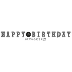Chalkboard Birthday Paper Add an Age Letter Banner, 320 x 25.4 cm, Radar 121671, 1 piece