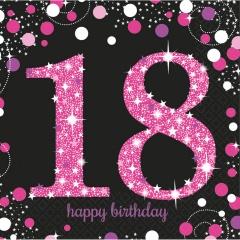 Servetele pentru petrecere de majorat - 18 Sparkling Celebration, 33 x 33 cm, Radar 9900579, Set 16 buc