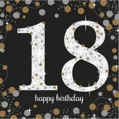 Servetele pentru petrecere de majorat - 18 Sparkling Gold Celebration, 33 x 33 cm, Radar 9900556, Set 16 buc
